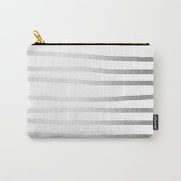 Simply Drawn Stripes Moonlight Silver Carry-All Pouch