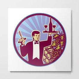 Waiter Serving Wine Glass Bottle Retro Metal Print