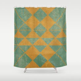 Emerald and Gold Marble Design Shower Curtain