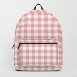 Lush Blush Pink and White Gingham Check Backpack