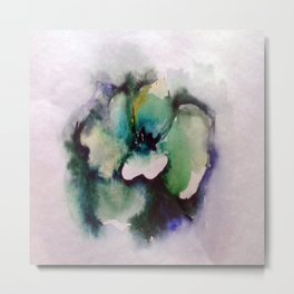 Green Rose Watercolor Metal Print