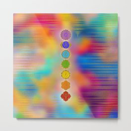 Colorful Golden Chakras composition Metal Print