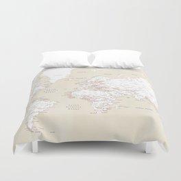 "Cream, white, red and navy blue world map, ""Deuce"" Duvet Cover"