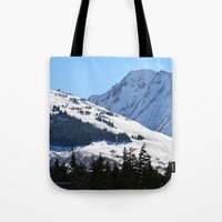 skiing Tote Bags featuring Back-Country Skiing  - I by Alaskan Momma Bear