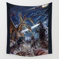kaiju Wall Tapestries featuring Godzilla Destroy all Monsters Monster Island Kaiju battle by Scott Jackson Monsterman Graphic