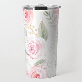 Summer Pink Rose Pattern  Travel Mug