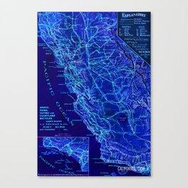 Blue California map, 1894. Canvas Print