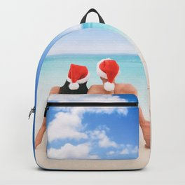 Christmas beach vacation couple on Hawaii Backpack