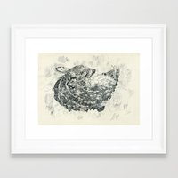 fawn Framed Art Prints featuring Fawn by NVM Illustration