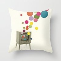 tv Throw Pillows featuring Colour Television by Cassia Beck