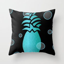 Tropical Blue And Black Throw Pillow