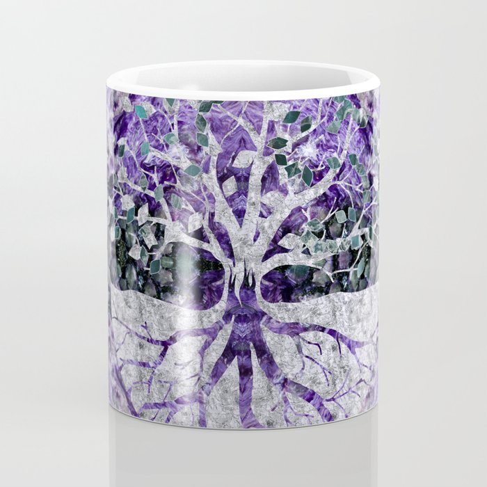 Silver Tree of Life Yggdrasil on Amethyst Geode Coffee Mug