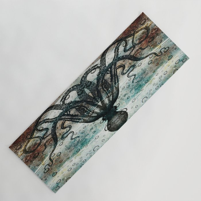 Octopus In Stormy Water Yoga Mat