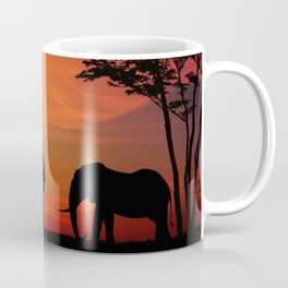 Elephants in the African sunset Coffee Mug