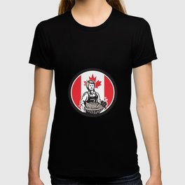 Canadian Female Organic Farmer Canada Flag Icon T-shirt