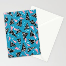 80s Abstract memphis pattern trendy modern pattern print pink black and blue Stationery Cards