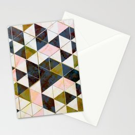 Marble Triangle Tiles in Green Gold  Stationery Cards