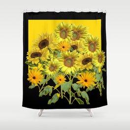 GOLDEN -BLACK SUNNY YELLOW SUNFLOWERS FIELD ART Shower Curtain