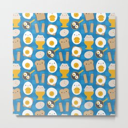 Kawaii Eggs For Breakfast Metal Print