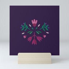 purple folk scandi flowers Mini Art Print