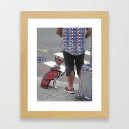 Dog and Master Patterned Framed Art Print