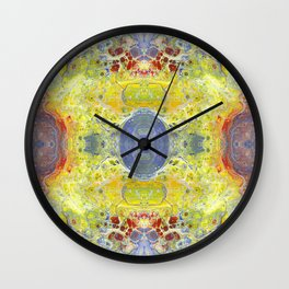 Psycho - UFO Landing in Golden Field surrounded by Inhabitable Lands by annmariescreations Wall Clock