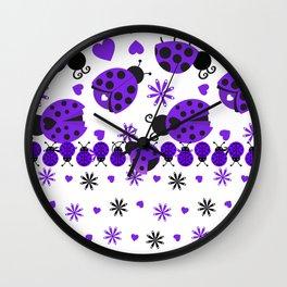 Cute Ladybugs Purple Wall Clock