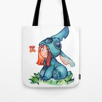 stitch Tote Bags featuring stitch  by noCek