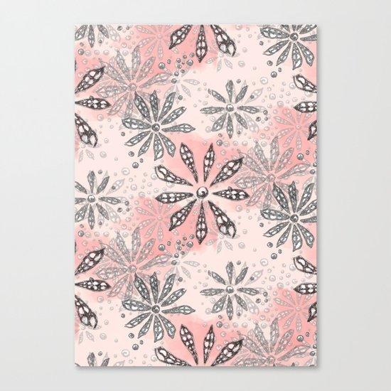 Spiral Flowers Pattern Canvas Print