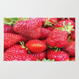 Close-up of Fresh Strawberries Rug