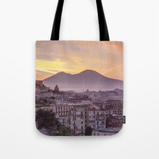 Napoli, landscape with volcano Vesuvio and sea Tote Bag