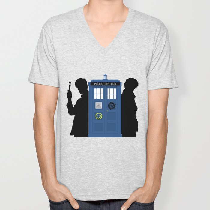 The Doctor and Sherlock meets Supernatural Unisex V-Neck