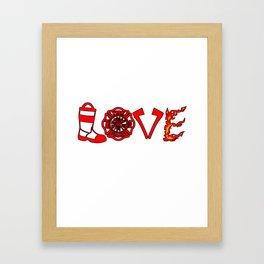 Firefighter Love Fire Ax Boots Extinguisher Gift Framed Art Print