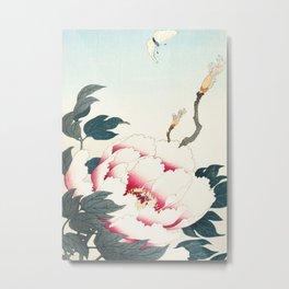 Butterfly and Flower - Japanese vintage woodblock print Metal Print