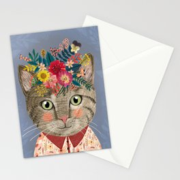 Grey cat with flower crown Stationery Cards