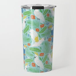 Blue toucan with white cockatoo amoung tropical flowers and leaves Travel Mug