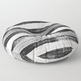 Black White and Grey Monochrome Pastel Stripes Abstract Pattern Floor Pillow