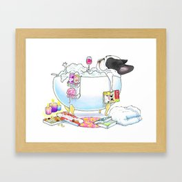 French Bulldog in the Tub - black and white pied Framed Art Print