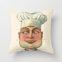 chef Throw Pillows featuring French Chef by Connie Goldman