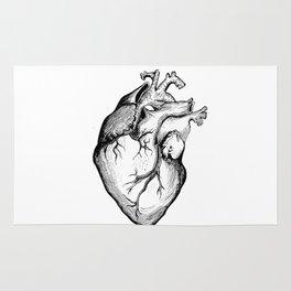 Heart Black and White Rug