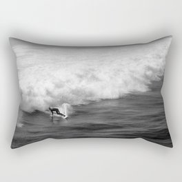Lone Surfer in Black and White Rectangular Pillow