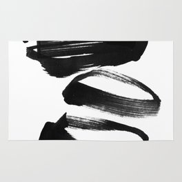 Black and White Abstract Shapes Ink Painting Rug