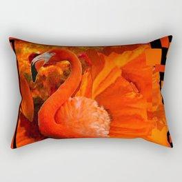 ART DECO BLACK & SAFFRON FLORIDA FLAMINGOS ART Rectangular Pillow