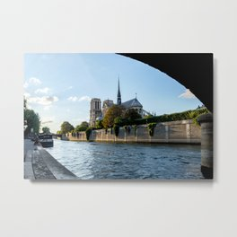 Notre Dame de Paris from under the Pont de l'Archeveche - Paris Metal Print