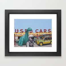 Jurassic Parking Lot Framed Art Print