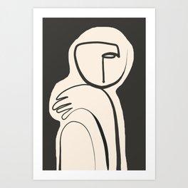 Lady Portrait Abstract Minimal  Line Art Art Print