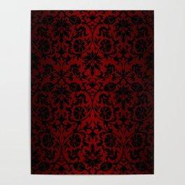 Dark Red and Black Damask Poster
