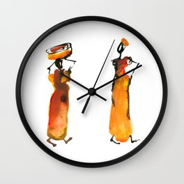 Malaika and Zeita dressing fire flames Wall Clock