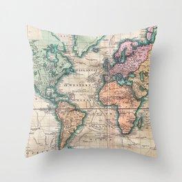 Vintage World Map 1801 Throw Pillow