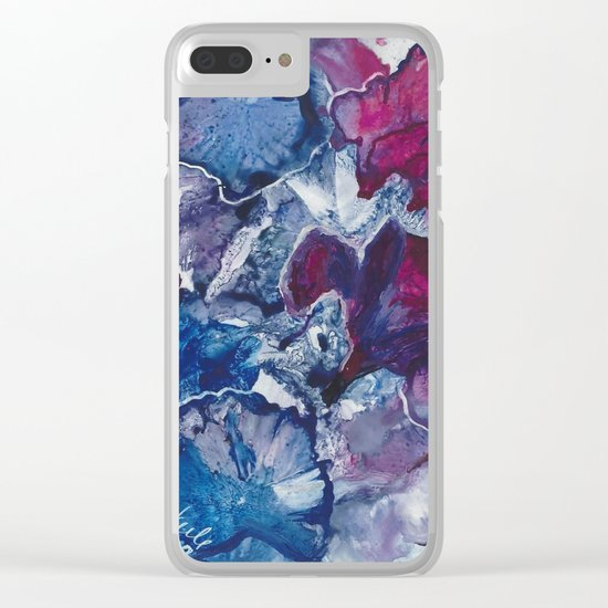Blue and Red Abstract encaustic flowers Clear iPhone Case